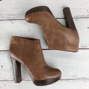 ALDO brown leather high heeled booties size 8.5